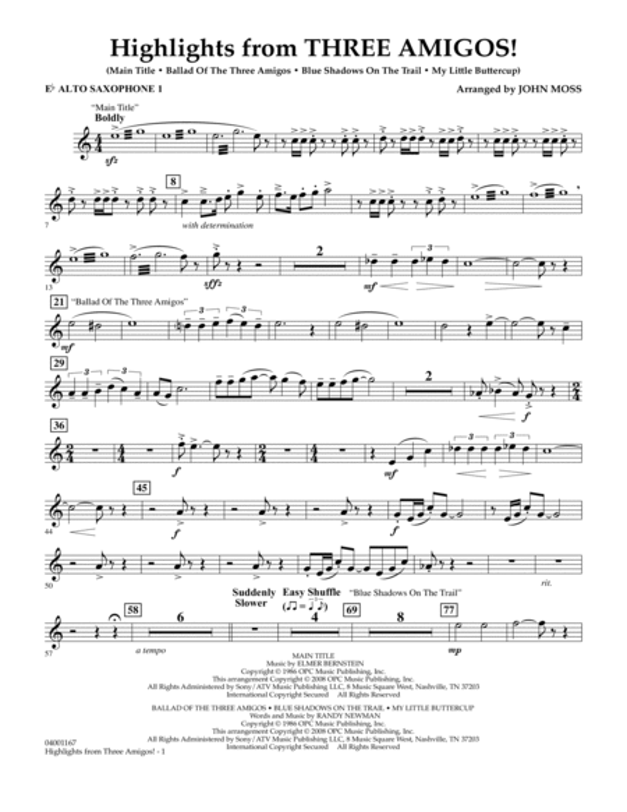 Highlights from Three Amigos! - Eb Alto Saxophone 1