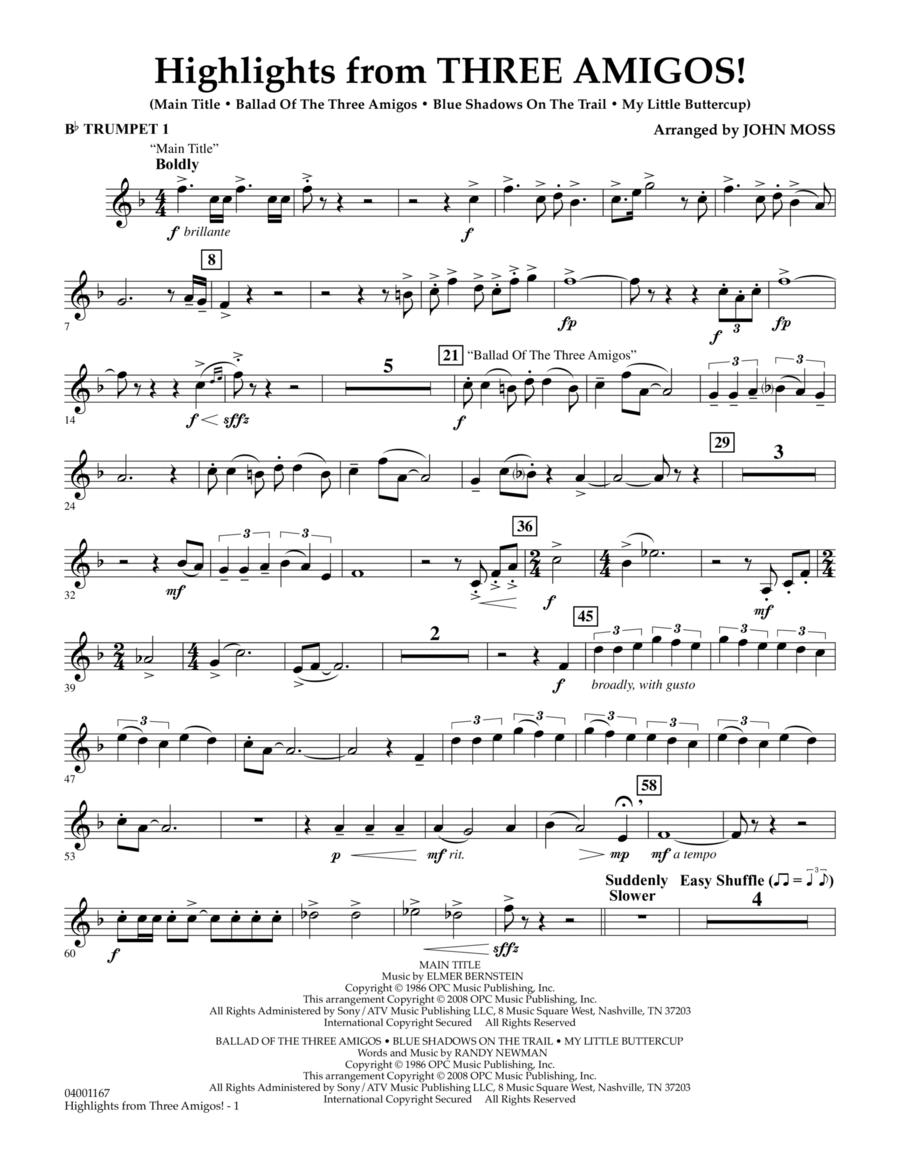 Highlights from Three Amigos! - Bb Trumpet 1
