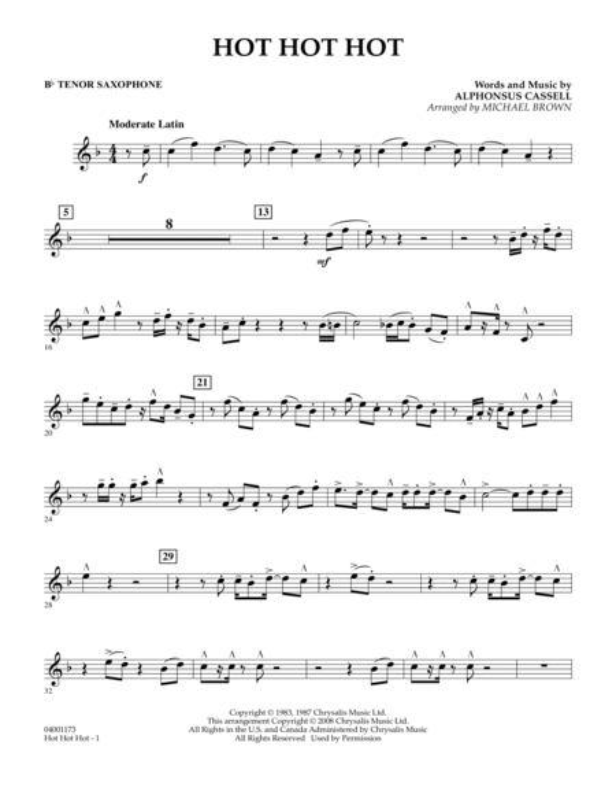 Hot Hot Hot - Bb Tenor Saxophone