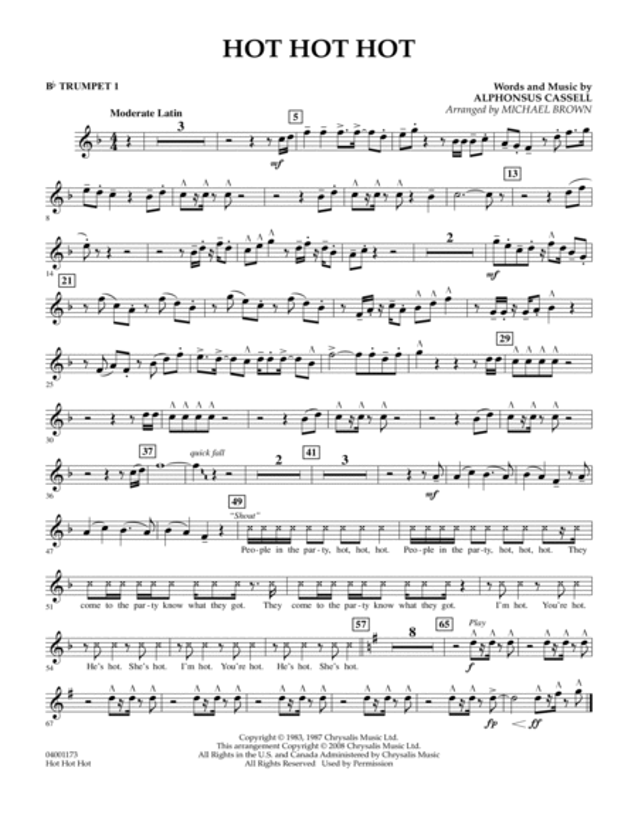 Hot Hot Hot - Bb Trumpet 1