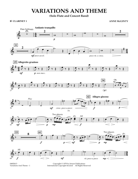 Variations And Theme (for Flute Solo And Band) - Bb Clarinet 1