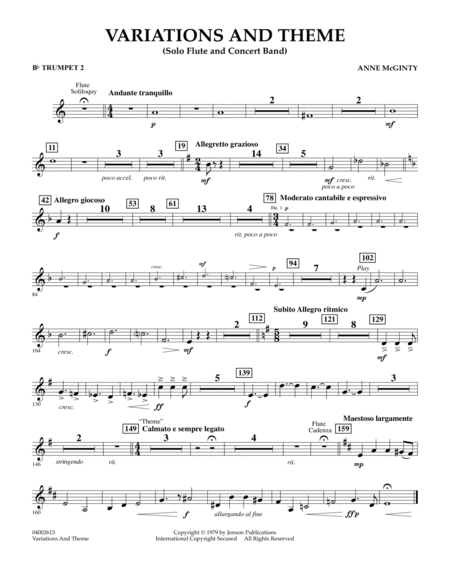 Variations And Theme (for Flute Solo And Band) - Bb Trumpet 2