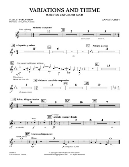 Variations And Theme (for Flute Solo And Band) - Mallet Percussion