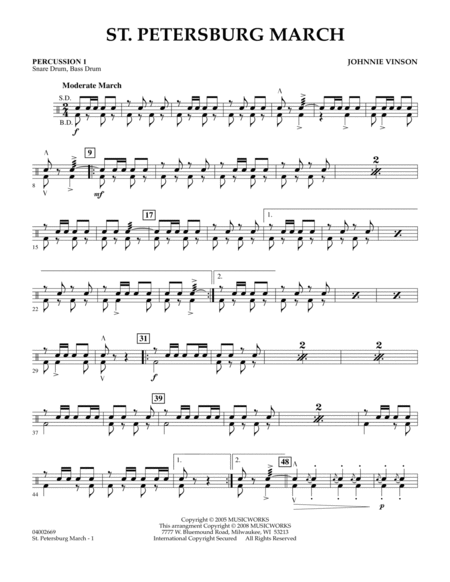 St. Petersburg March - Percussion 1