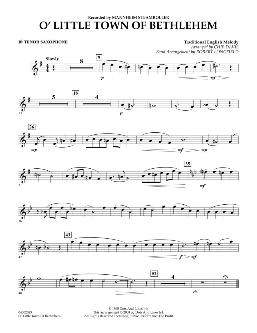 O Little Town Of Bethlehem - Bb Tenor Saxophone