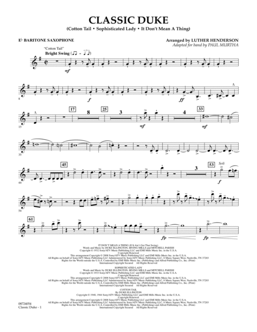 Classic Duke - Eb Baritone Saxophone