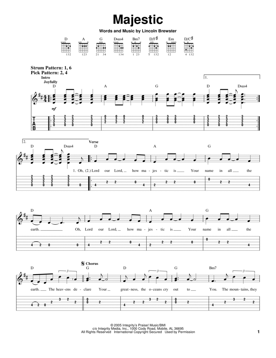 Download Majestic Sheet Music By Lincoln Brewster Sheet