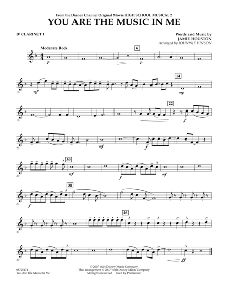 You Are The Music In Me (from High School Musical 2) - Bb Clarinet 1