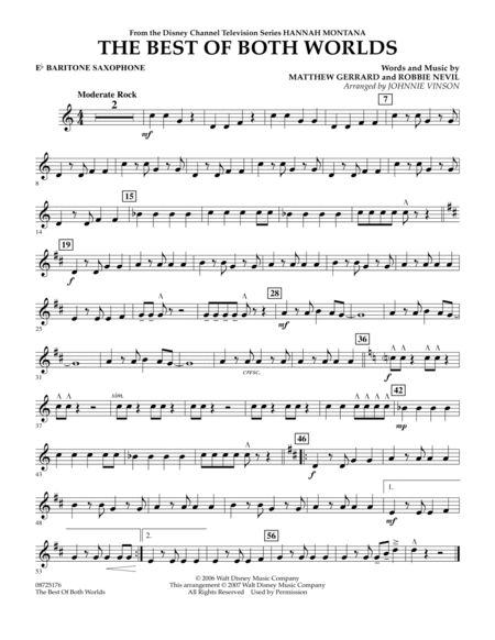 The Best Of Both Worlds (Theme from Hannah Montana) - Eb Baritone Saxophone
