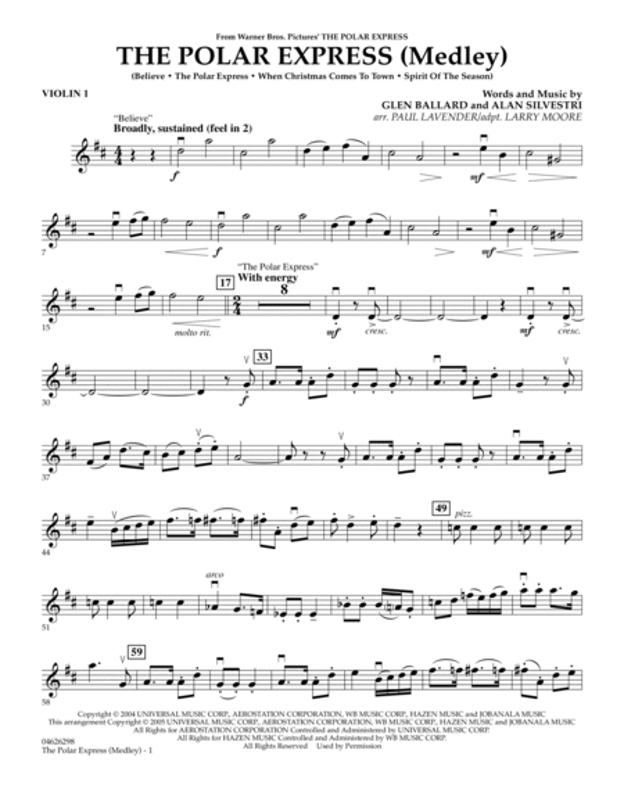 The Polar Express (Medley) - Violin 1