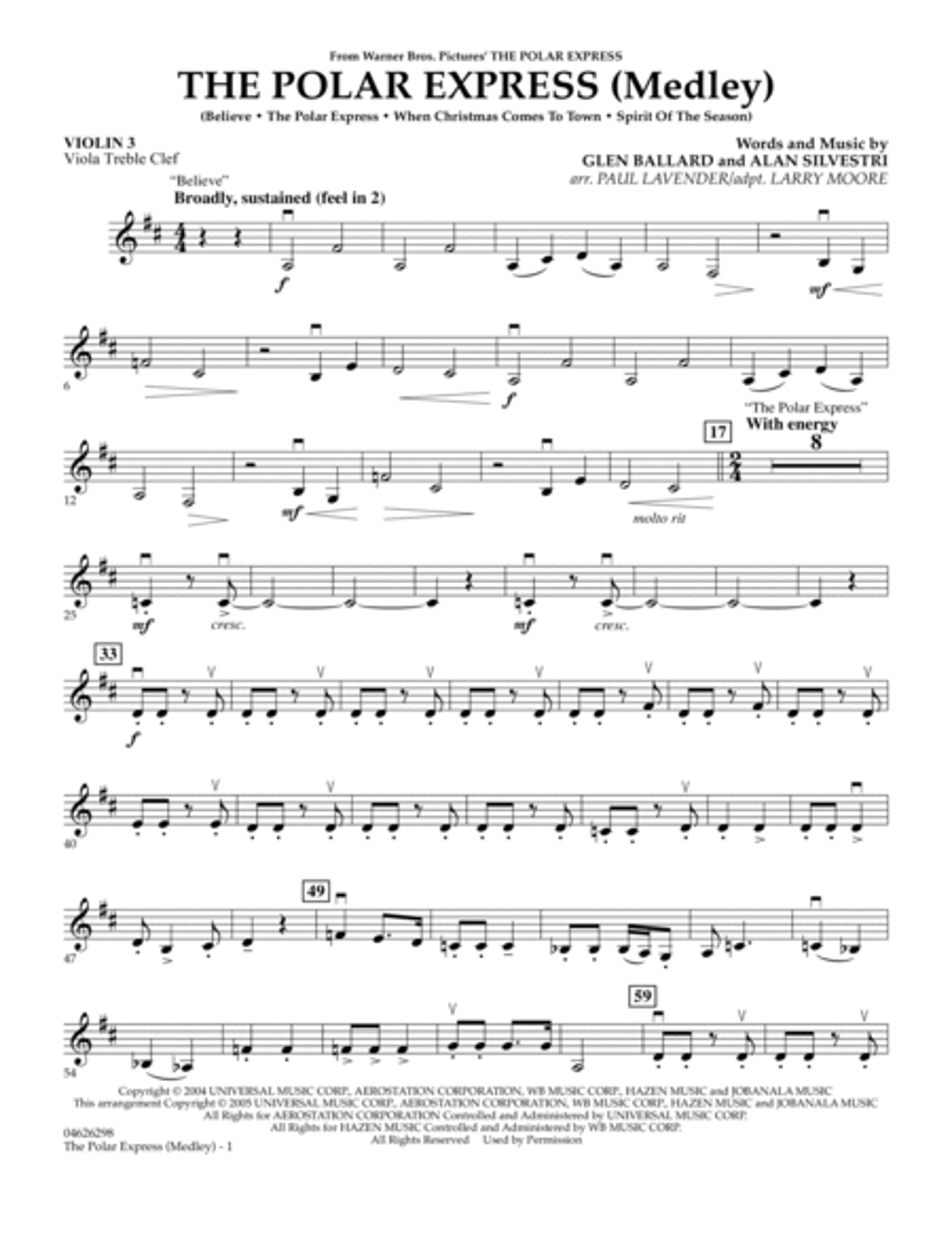 The Polar Express (Medley) - Violin 3 (Viola Treble Clef)