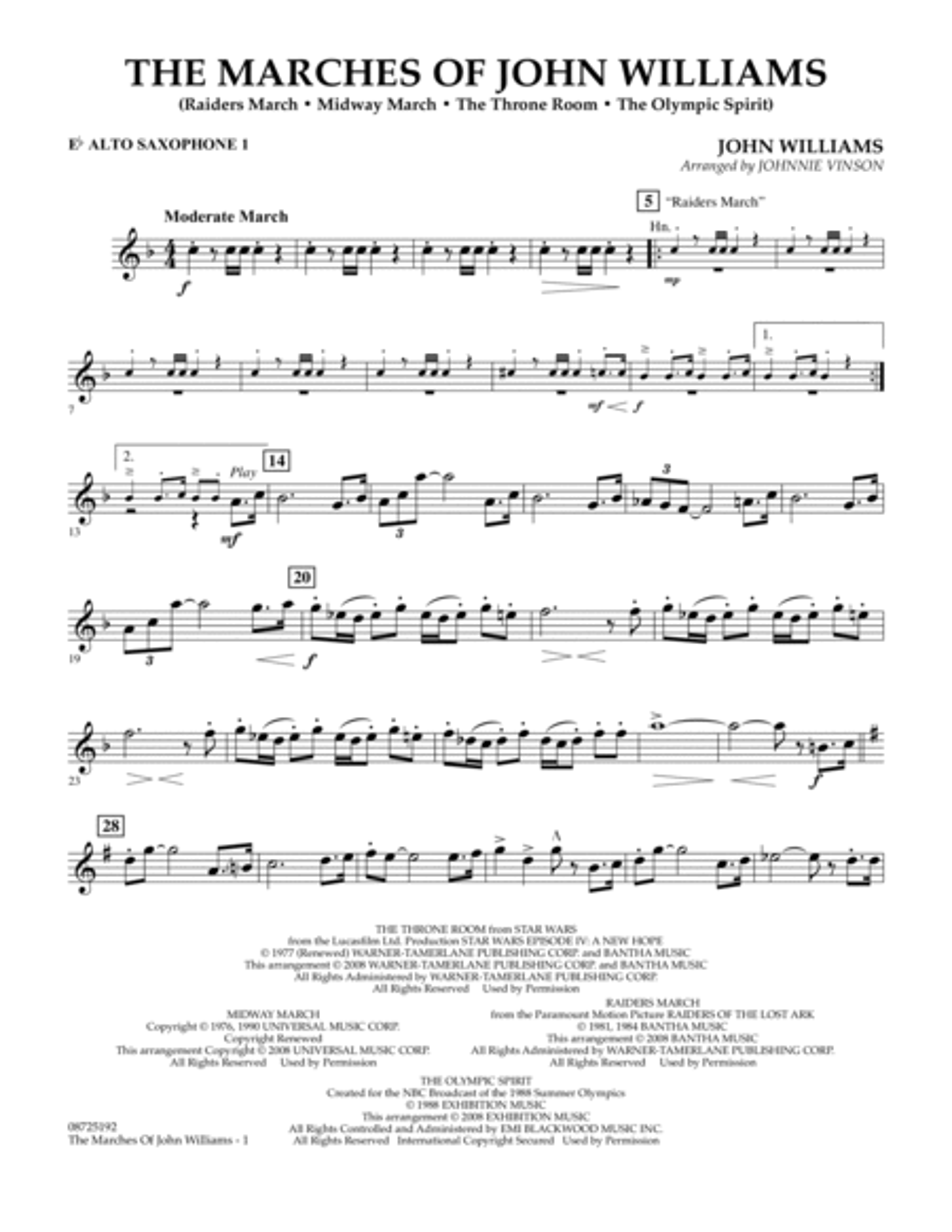 The Marches of John Williams - Eb Alto Saxophone 1