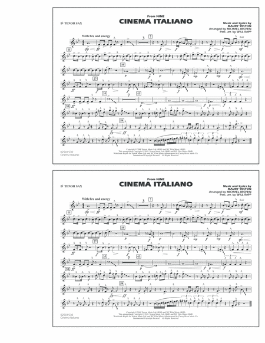 Cinema Italiano (from Nine) - Bb Tenor Sax