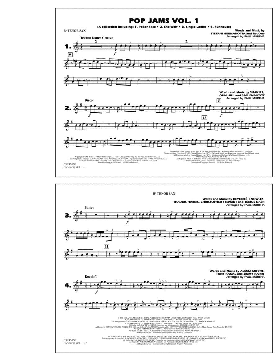 Pop Jams: Vol. 1 - Bb Tenor Sax