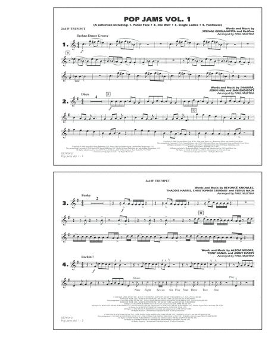 Pop Jams: Vol. 1 - 2nd Bb Trumpet