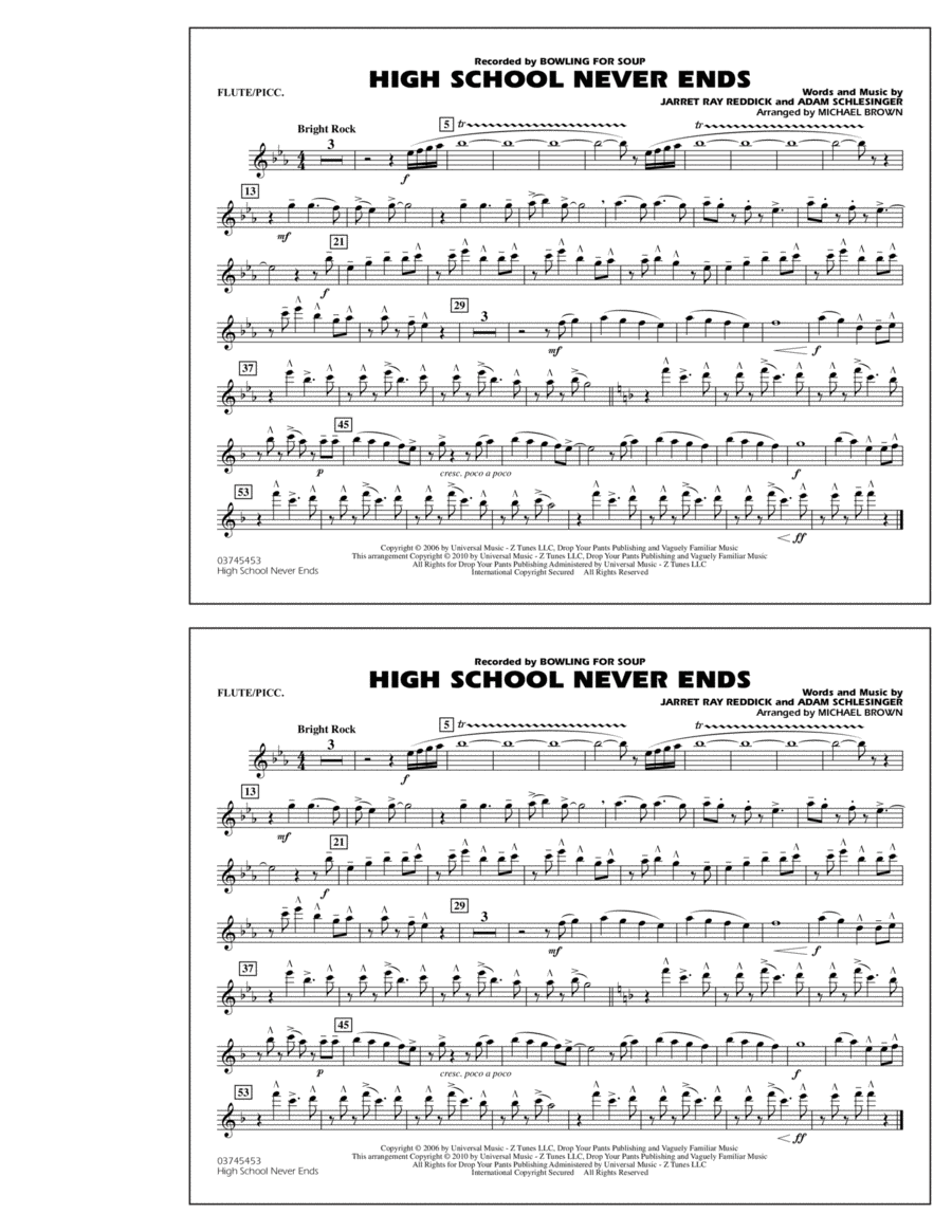 High School Never Ends - Flute/Piccolo