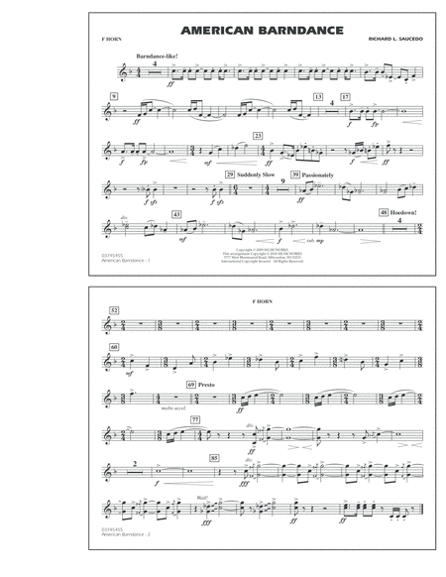 American Barndance - F Horn
