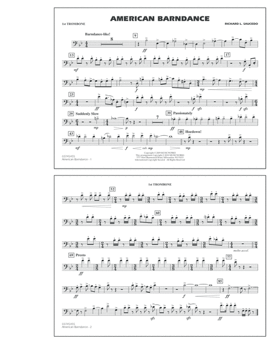 American Barndance - 1st Trombone