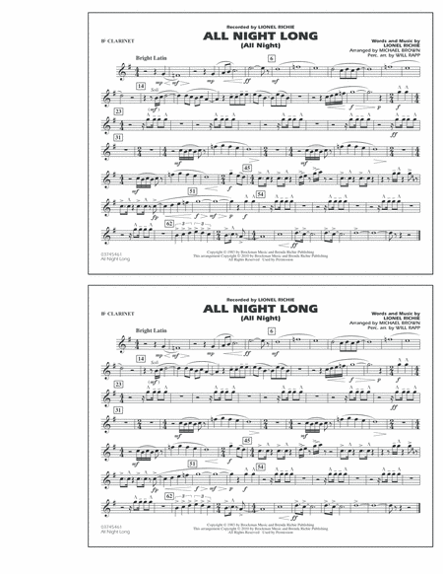All Night Long (All Night) - Bb Clarinet