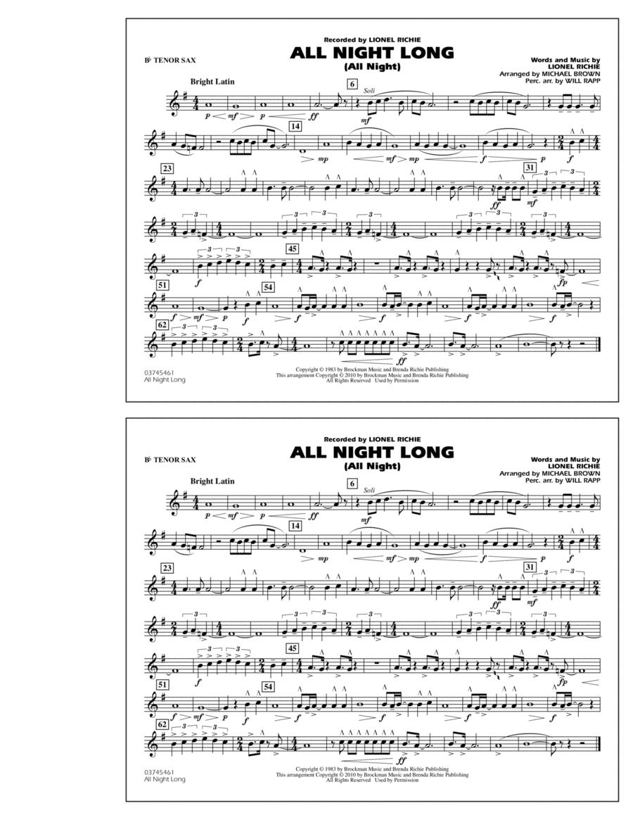 All Night Long (All Night) - Bb Tenor Sax