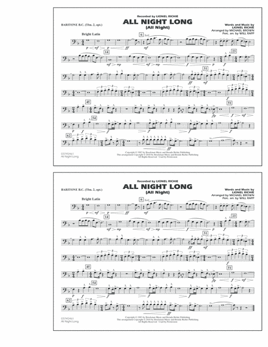 All Night Long (All Night) - Baritone B.C. (Opt. Tbn. 2)