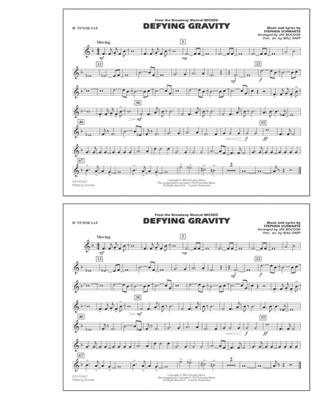 Defying Gravity (from Wicked) - Bb Tenor Sax