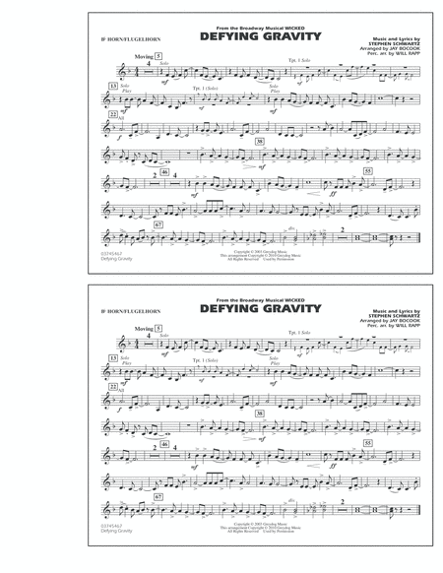 Defying Gravity (from Wicked) - Bb Horn/Flugelhorn