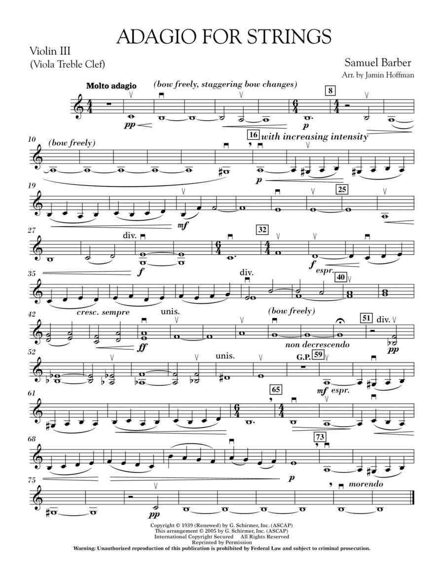 Adagio For Strings - Violin 3 (Viola Treble Clef)