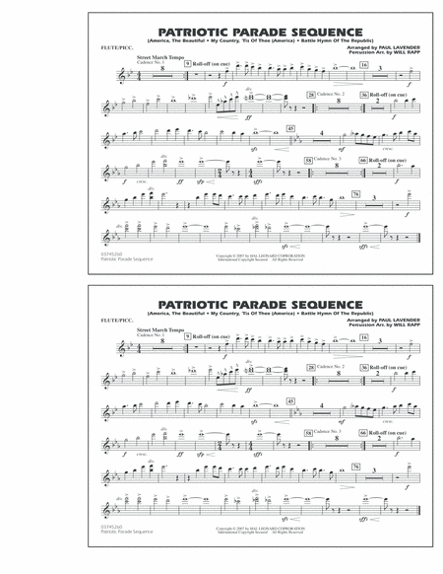 Patriotic Parade Sequence - Flute/Piccolo