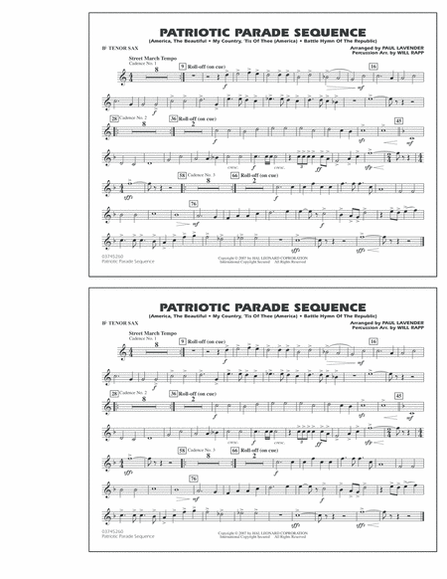 Patriotic Parade Sequence - Bb Tenor Sax