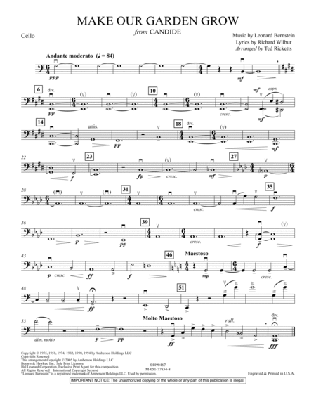 Download Make Our Garden Grow From Candide Cello Sheet