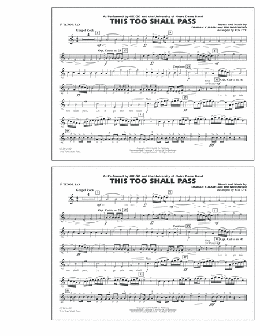 This Too Shall Pass - Bb Tenor Sax