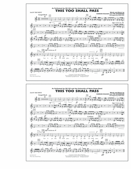 This Too Shall Pass - 3rd Bb Trumpet