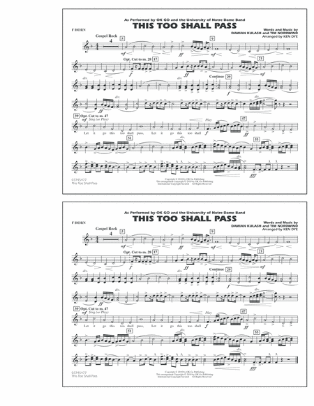This Too Shall Pass - F Horn