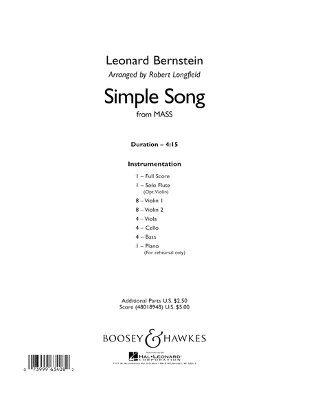 A Simple Song (from Mass) - Conductor Score (Full Score)