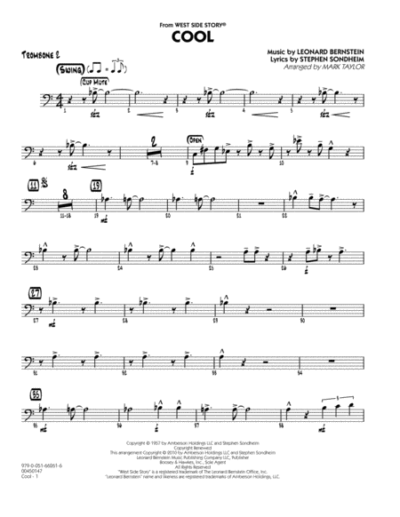 Cool (from West Side Story) - Trombone 2