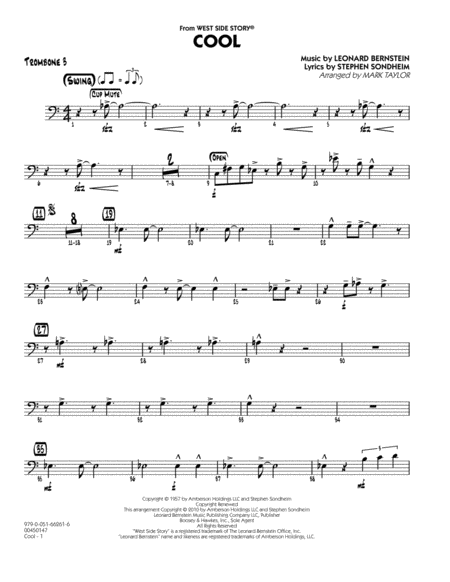 Cool (from West Side Story) - Trombone 3