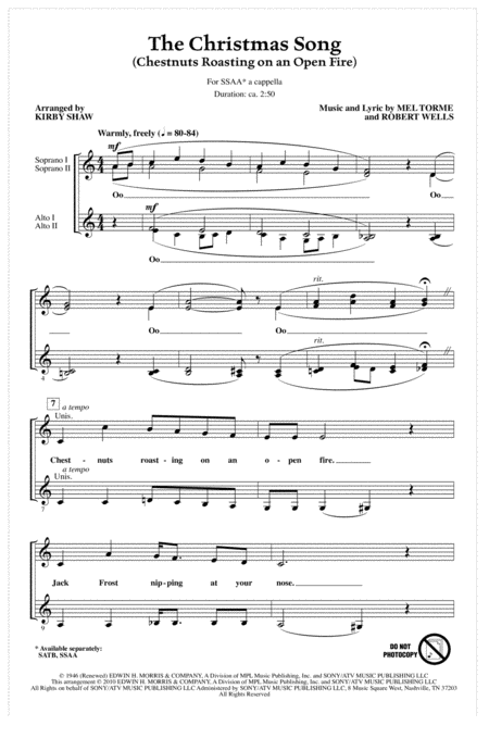 Download The Christmas Song (Chestnuts Roasting On An Open Fire) Sheet Music By Mel Torme ...