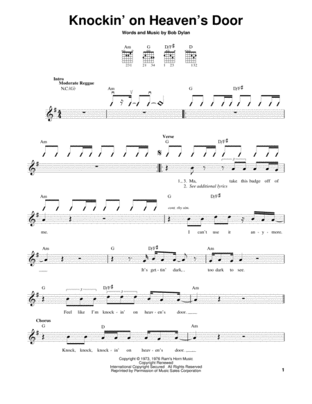 Harmonica Tabs Knocking Heavens Door Music Sheets Chords