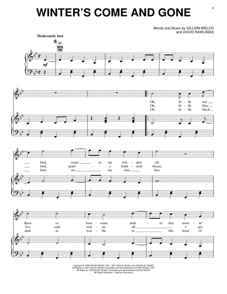 download winter 39 s come and gone sheet music by gillian. Black Bedroom Furniture Sets. Home Design Ideas
