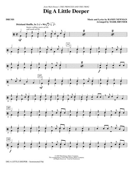 Dig A Little Deeper (from The Princess And The Frog) - Drums