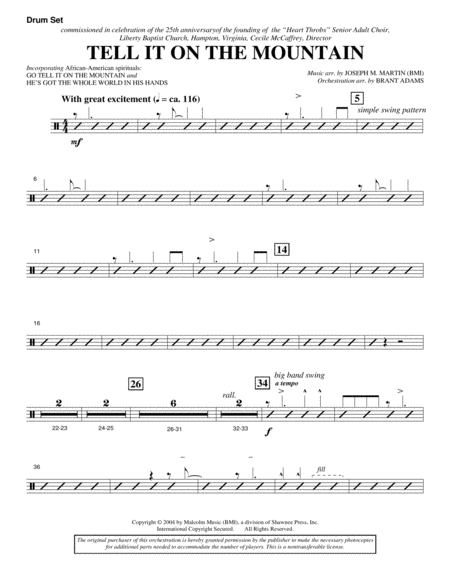 Tell It On The Mountain (from A World Of Christmas) - Drum Set