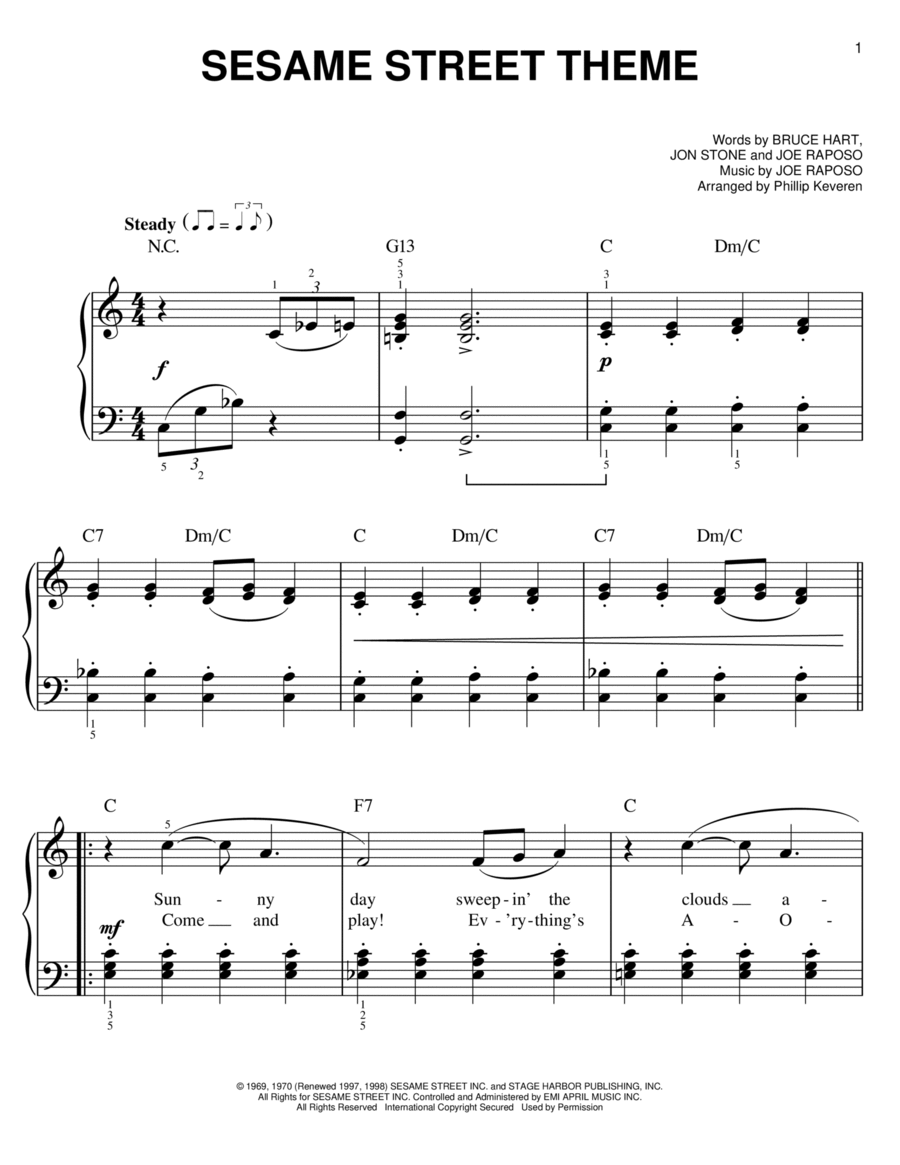 sesame street theme sheet music pdf