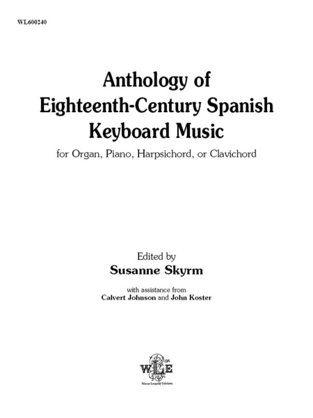 Anthology of Eighteenth-Century Spanish Keyboard Music