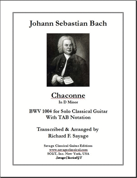 Chaconne in D Minor, BWV 1004 with TAB Stave for Solo Classical Guitar