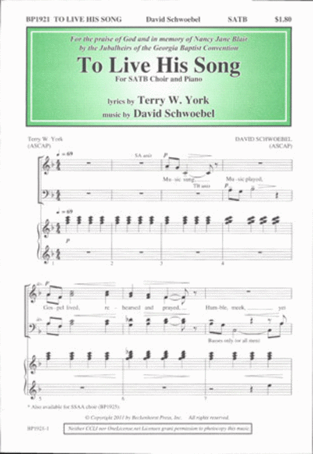 To Live His Song (SATB)