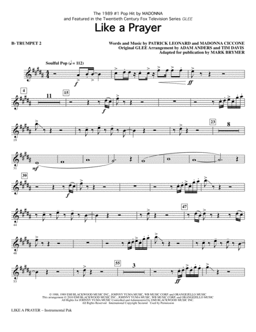Like A Prayer - Bb Trumpet 2