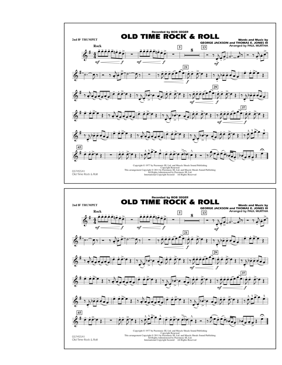 Old Time Rock & Roll - 2nd Bb Trumpet