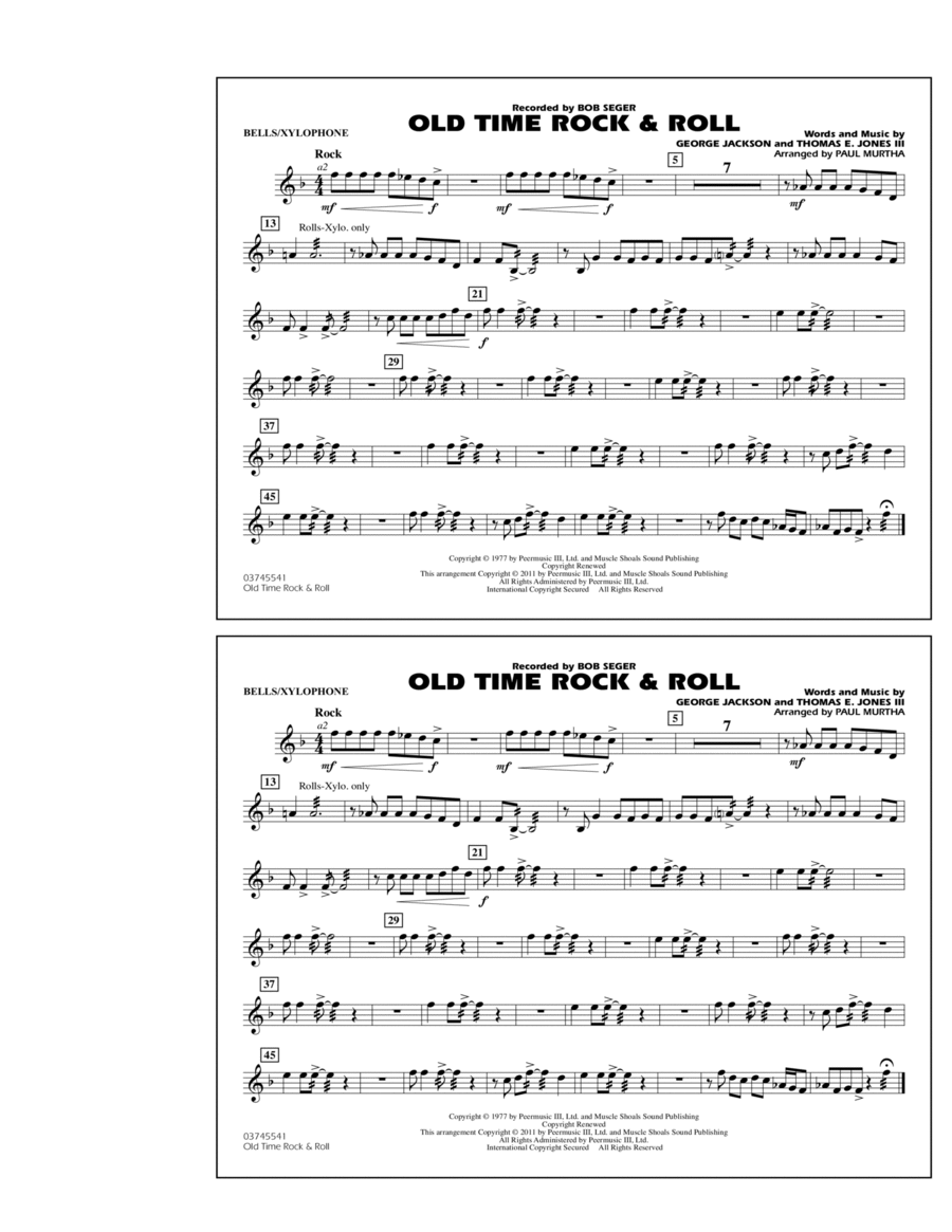 Old Time Rock & Roll - Bells/Xylophone