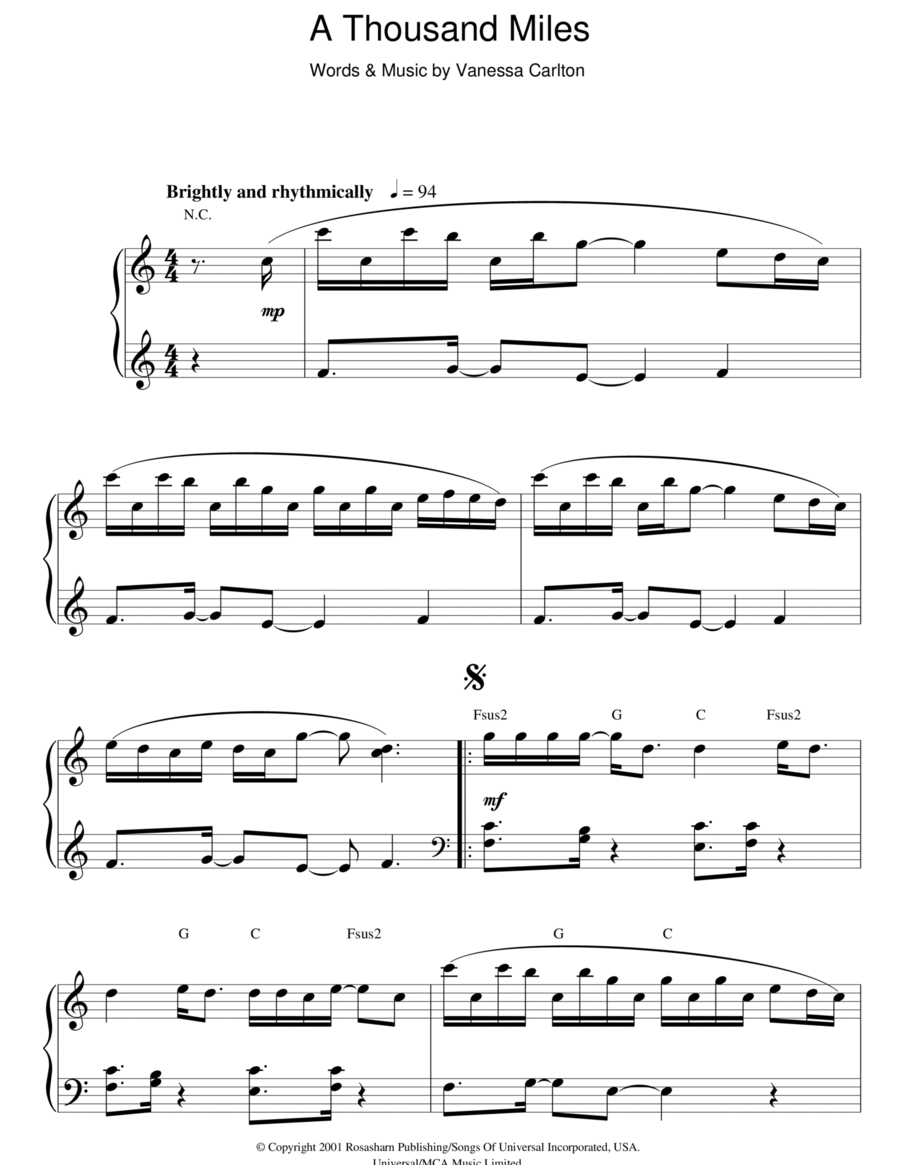 a thousand miles easy piano pdf